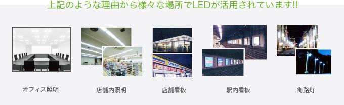 上記のような理由から様々な場所でLEDが活用されています!!